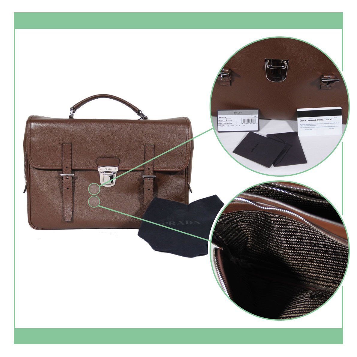 7ab52f153d244e ... Prada monogram woven throughout, one line right side up, the next  upside down. Some designs have smooth leather or satin lining with no  pattern, ...