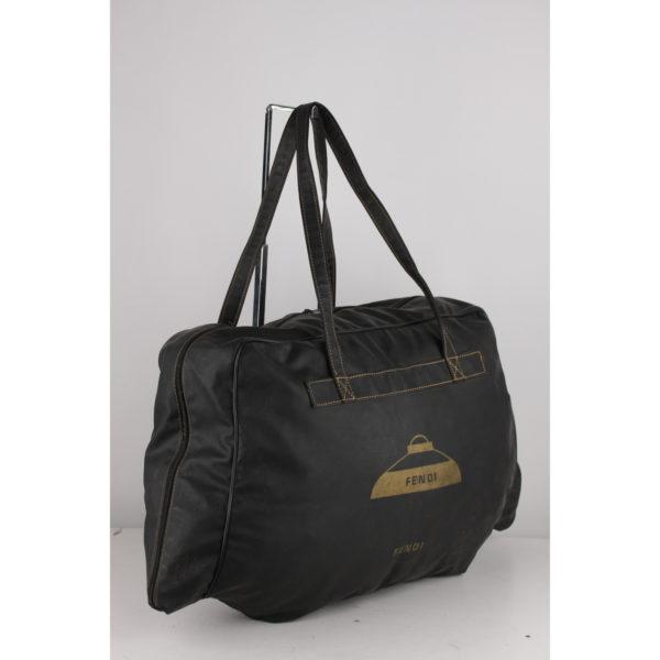 Fendi Vintage Black Vinyl Canvas Weekender Duffel Bag